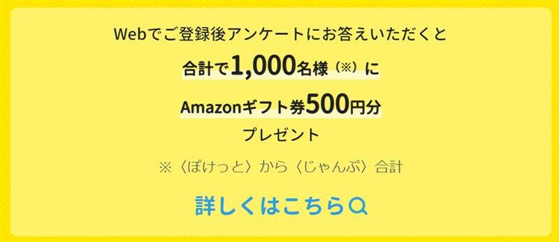 登録キャンペーン後のアンケート回答で合計1,000人にAmazonギフト券500円分プレゼント