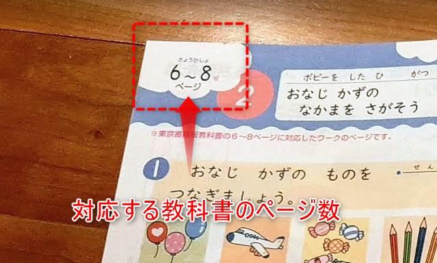 ポピー1年生の算数教材に書かれた教科書のページ