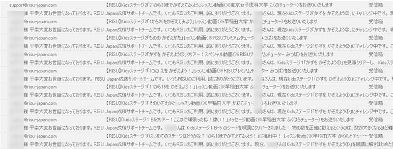 RISUから届く進捗メール